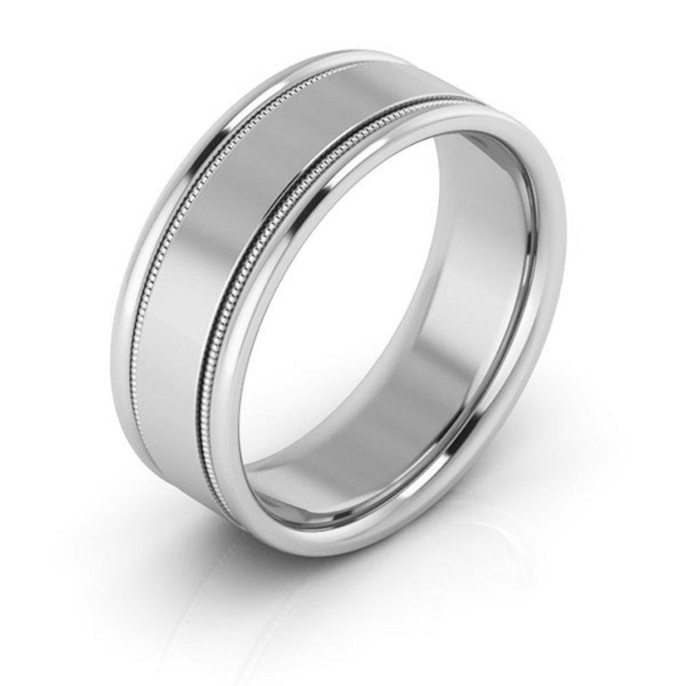 18K White gold 7mm raised edge with milgrain comfort fit men's & women's wedding bands, 10.5