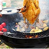 Teanfa BBQ Pizza Grill Pan Barbecue Stainless Steel Circularity Pan Non-Stick Panela With Foldable Wood Handle