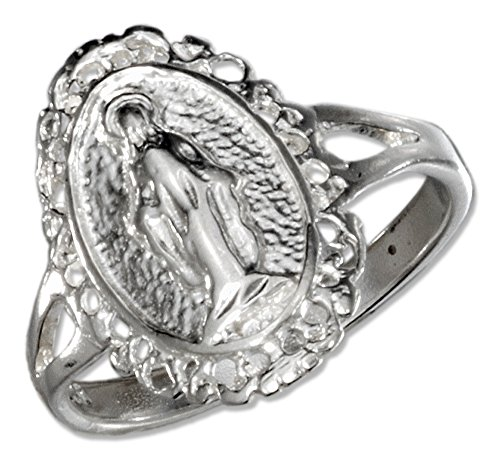 Superb Silver Oval Virgin Mary Ring with Split Shank (size 08)