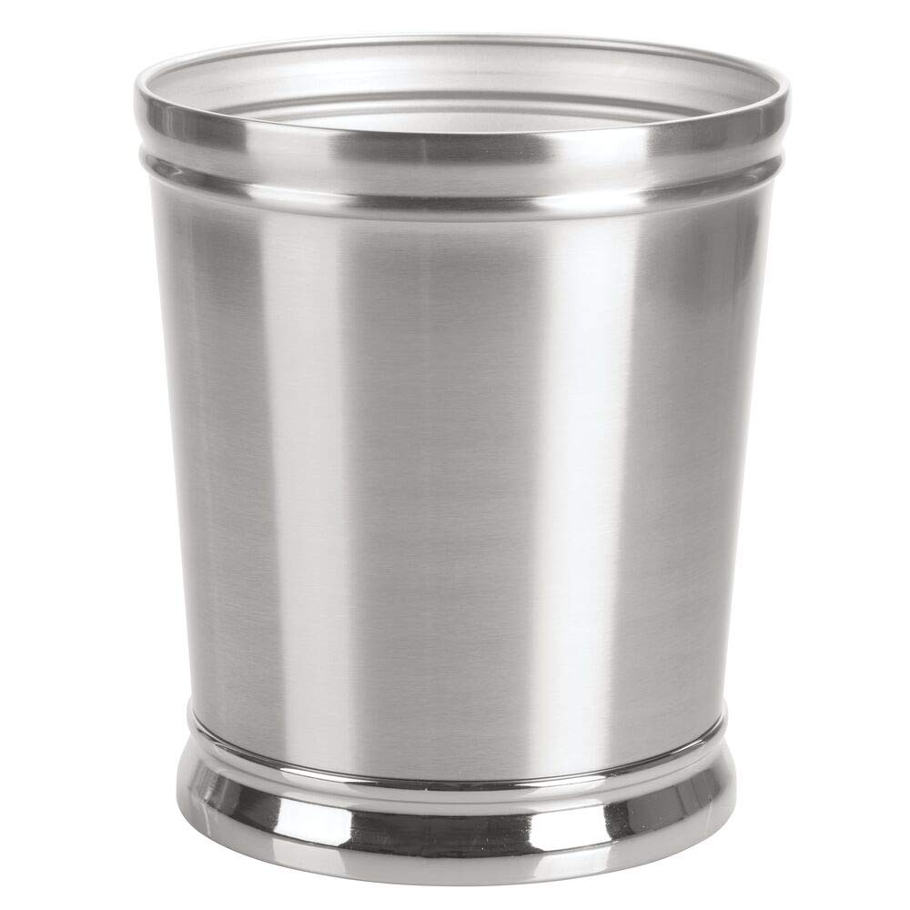 mDesign Decorative Metal Round Small Trash Can Wastebasket, Garbage Container Bin - for Bathrooms, Powder Rooms, Kitchens, Home Offices - Durable Solid Steel, Non-Slip Base - Brushed/Chrome by mDesign