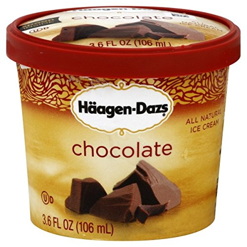 Haagen Dazs, Chocolate Ice Cream, 3.6 Oz. Cup, (12 Count)