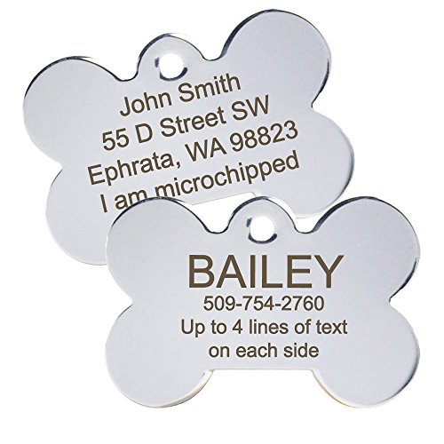 Personalized-Engraved-Dog-ID-Tag-comes-with-our-Quick-Clip-ID-Connector-Bone-Shape-Pet-ID-Tag-Includes-up-to-8-Lines-of-Text--Engraved-Front-Back-Stainless-Steel