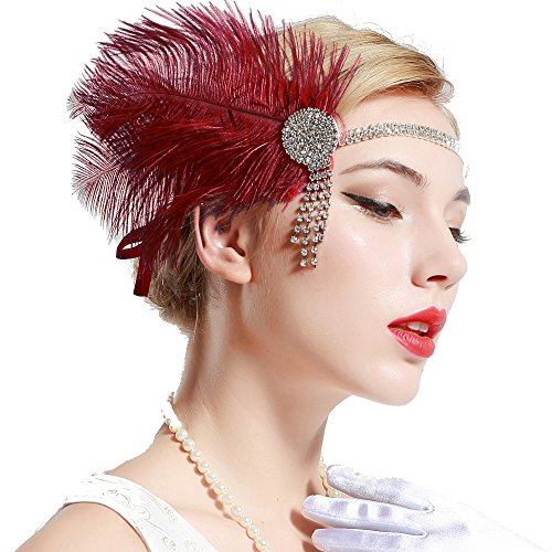 Babeyond Vintage 1920S Flapper Headband Roaring 20S Great Gatsby Headpiece With Feather 1920S Flapper Gatsby Hair Accessories  Wine Red