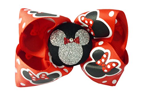 Red & Silver Glitter Minnie Mouse Hair Bow, Ribbon Clip for Disney Vacation or Cruise, -