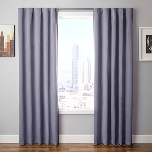 Hang Drapery Panels (The Simple Drape, Set of 2 Easy To Hang Total Black Out Window Curtain / Panel Blackout Curtains Measuring 42