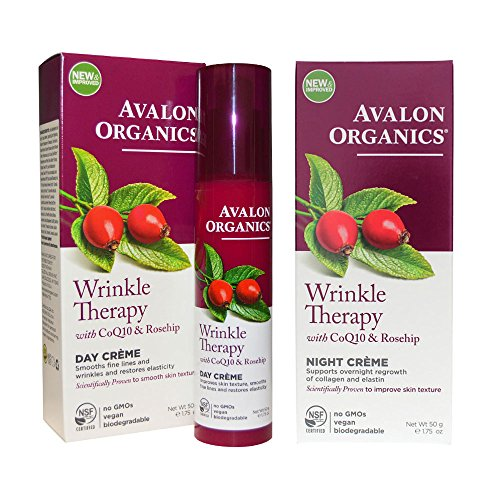 Avalon Organics Wrinkle Therapy Day Cream and Avalon Organics Wrinkle Therapy Night Cream Bundle With CoQ10 and Rosehip, 1.75 oz (50 g) each
