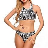 spaghetti strap geometric bikini - Esqlotre Women's Boho Spaghetti Strap Push Up Bikini Swimsuit Plus Size Black XXXX-Large