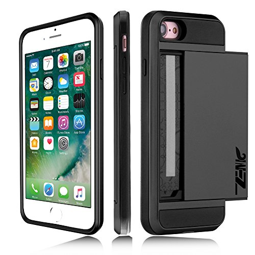 iPhone 7 Case, Zenic(TM) [Wallet Case] Anti-Scratch Slide Card Slot & Shockproof Bumper Frame Silicone Dual Hybrid Defender Impact Resistance Armor Case Cover for Apple iPhone 7 (4.7 inch) (Black) (Sliding Door Cases)