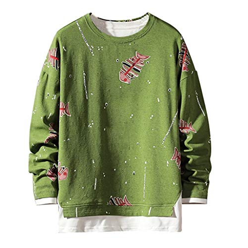 Sunhusing Men's Simple Fishbone Pattern Print Casual Round Neck Long Sleeve Sweatshirt Short Pullover Blouse Green