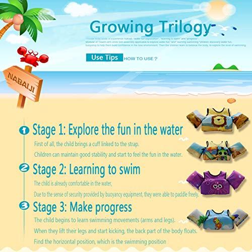 VIEKUU Toddler Swim Vest Child Life Jacket Kids Life Vest Swimming Pool Training Swim Aid for Baby Learn to Swim 2-6 Years Old 15-30KG(Hippocampus)