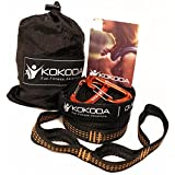 Hammock Straps + 2 free premium carabiners with carry bag; 9 feet long (18 feet total), 16 loops (32 total); extra strong triple stitching, non stretch fabric, lightweight suspension system
