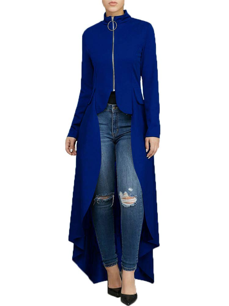 Women's Fashion High Low Tops - Unique Asymmetrical Zipper Front Long Sleeve Tunic Shirt Dress Royal Blue by Uni Clau