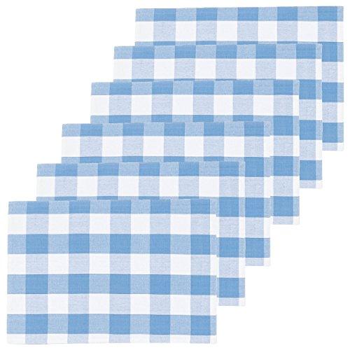 C&F Home Franklin Cornflower Cotton Placemat Set of 6 Rectangular Placemat Set of 6 Cornflower Blue ()