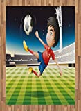 Kids Area Rug by Lunarable, Young Boy Playing Football in the Stadium Athlete Sports Soccer Championship Graphic, Flat Woven Accent Rug for Living Room Bedroom Dining Room, 5.2 x 7.5 FT, Multicolor