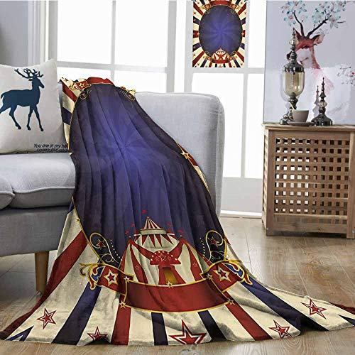 Homrkey Travel Throwing Blanket Vintage Circus Theme Retro Carnival Tent Ribbon Figures Poster Like Image Lightweight E x tra Big W54 xL84 Navy Blue Red Light Yellow