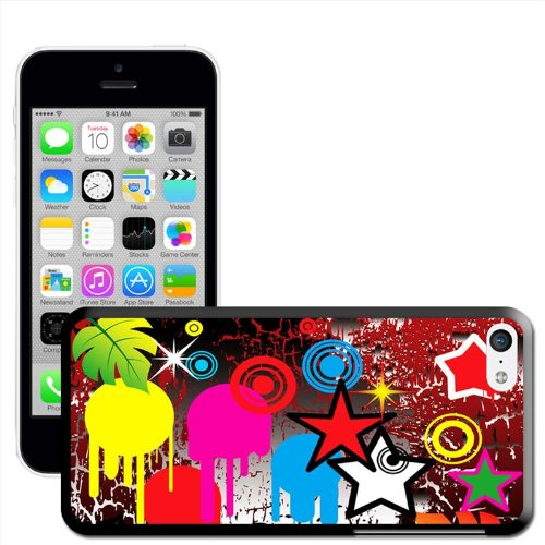 Fancy A Snuggle 'Emo Youth Cool Grunge Look Paint Splashes Stars Coque arrière rigide à clipser pour Apple iPhone 5C