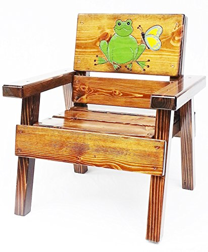 Kids Whimsical Wooden Chair, Indoor / Outdoor Furniture, Heirloom Gift, Engraved and Painted Frog and Butterfly