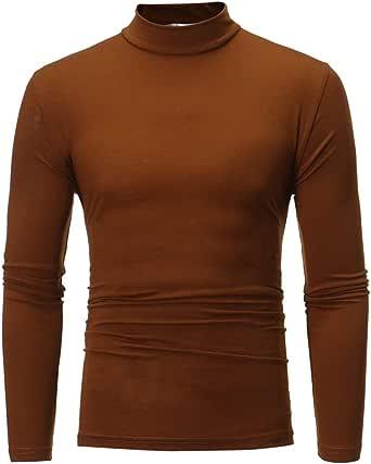 Camiseta de Manga Larga con Cuello en V de Cuello Alto de Color Puro de otoño Invierno de los Hombres por Internet.