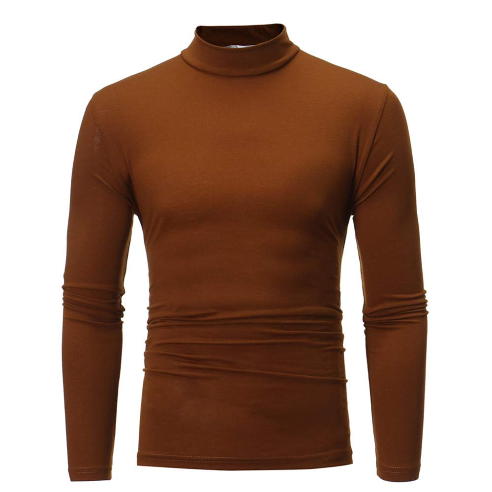 Allywit Men's Autumn Winter Pure Color Turtleneck Long Sleeve T-Shirt Top Blouse Coffee