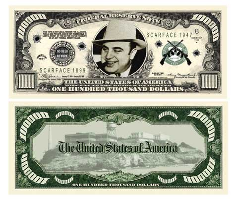 American Art Classics Pack of 100 - Al Capone $100000.00 Bill - Best Gift for Fans of The Infamous Chicago Gangster