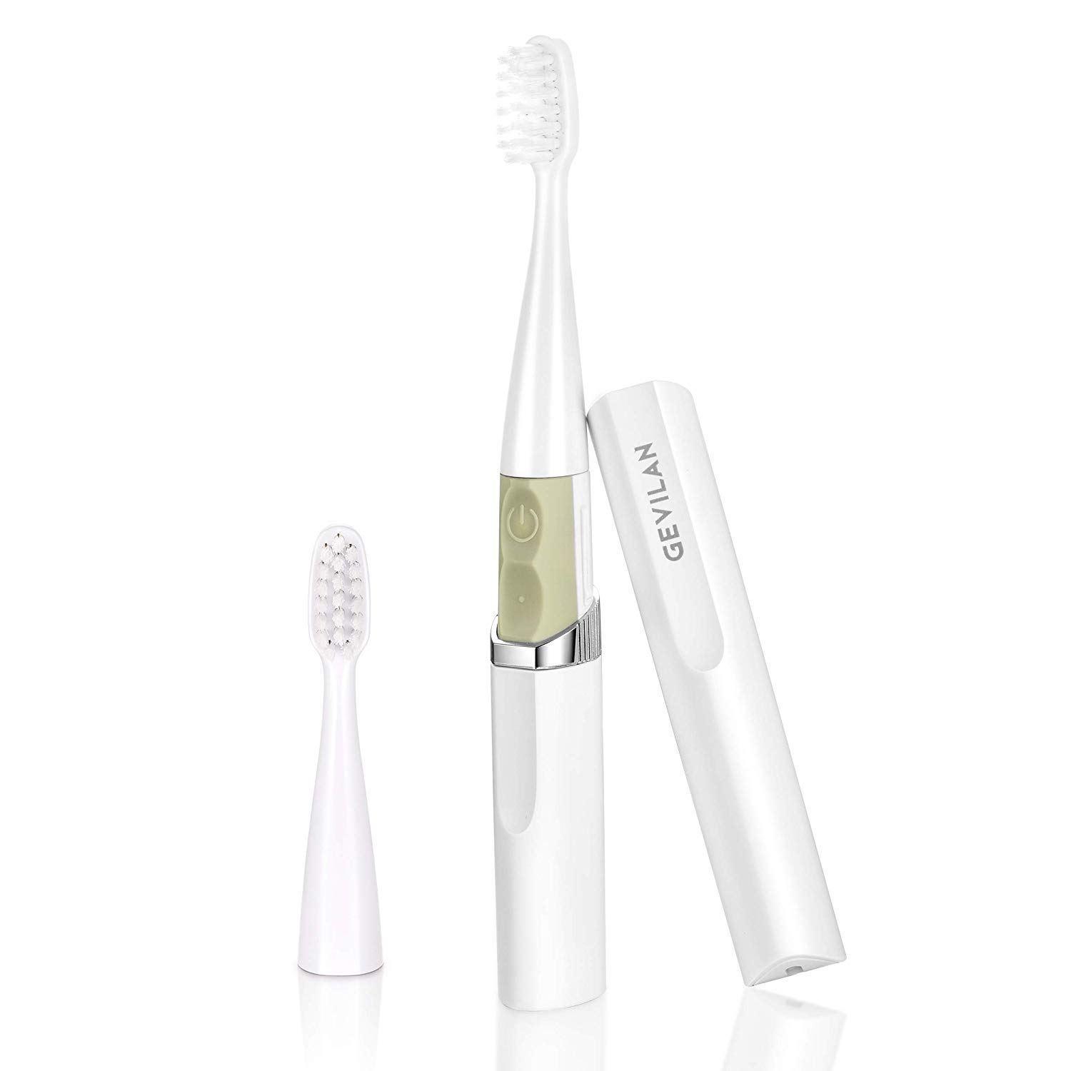 Travel Electric Toothbrush by Gevilan with 2 Modes Battery Powered, Waterproof and Portable Lipstick Mini Design for Daily Oral Beauty Care, Trip(White)