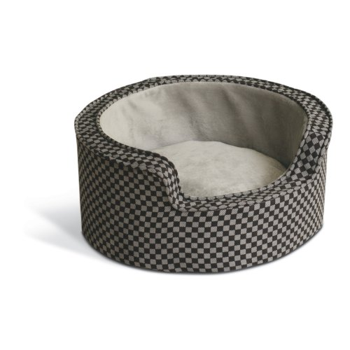 (K&H Pet Products Round Comfy Sleeper Self-Warming Pet Bed Small Black Square Print 18
