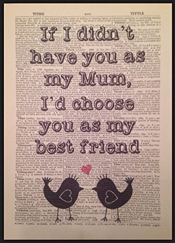 Mum Mom Best Friend Quote Print Vintage Dictionary Page Art Picture