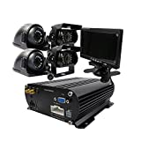 JOINLGO 4 Channel GPS 4G 1080P AHD 2TB HDD Mobile Vehicle Car DVR MDVR Video Recorder Kit Real-time Monitor on PC Phone with 4pcs 1080P 2.0MP Side Rear View IR Metal Car Camera 7 inch Car Monitor
