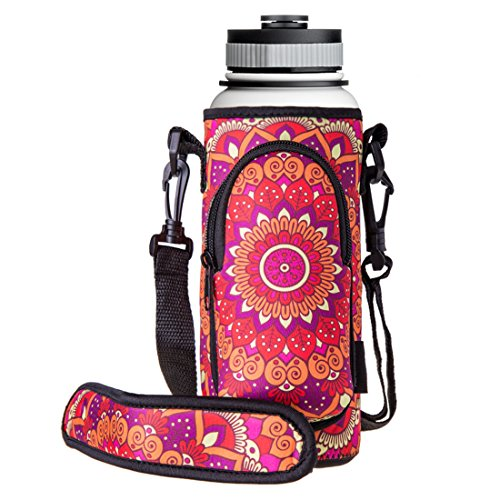 RoryTory Neoprene Water Bottle Sleeve Carrier Holder with Shoulder Strap, Pouch, Pocket & Carrying Handle (Fits 32oz / 40oz Hydro Flask, Nalgene, Juglug, Contigo, etc) - Red Flower Mandala Design