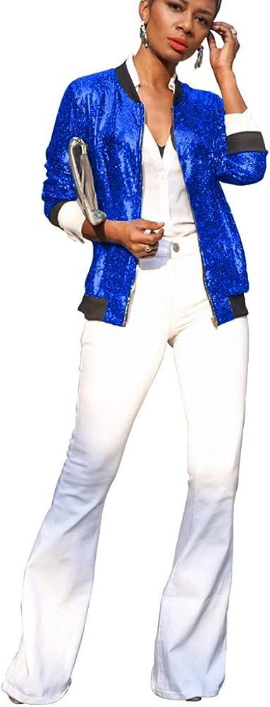 OLUOLIN Womens Casual Sequin Sparkle Long Sleeve Stand Collar Zipper Blazer Bomber Crop Jacket Tops