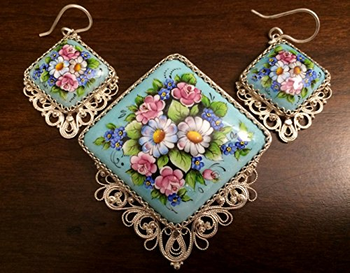 Enamel Russian Rostov Vintage Style Finift Set Brooch+Earrings. Hand painted. Blue-turquoise Floral