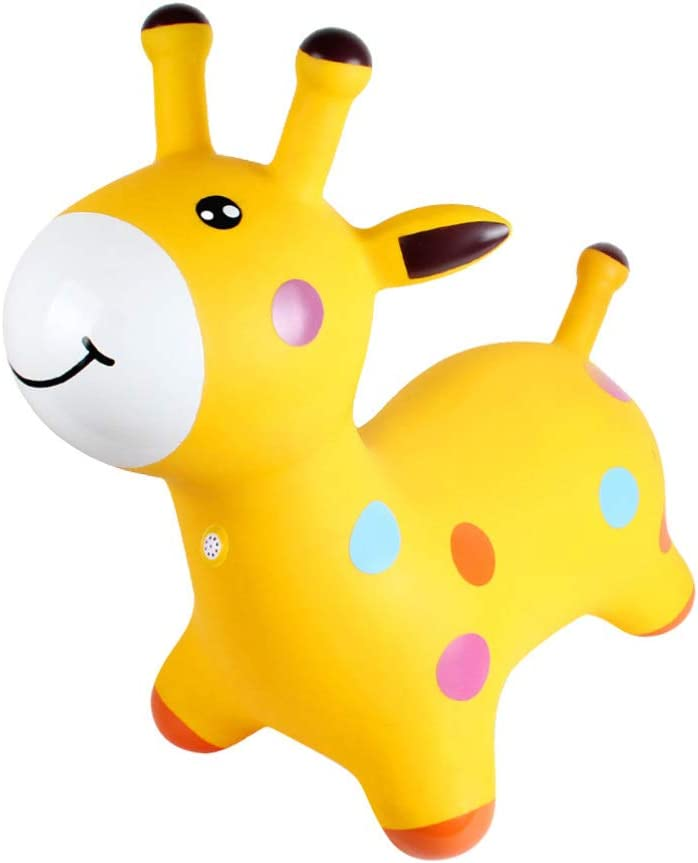 Toyvian Inflatable Bouncy Horse Space Hopper Music Jumping Horse Ride-on Bouncing Animal Toys for Kids Toddlers Yellow