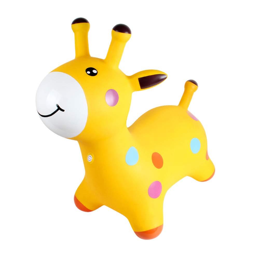 Toyvian Gonfiabile Cavallo Rimbalzante Spazio Tramoggia Musica Saltando Cavallo Cavalcabile Che Rimbalza Giocattoli Animali per Bambini Piccoli Giallo