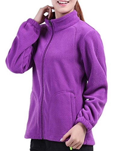 Smile YKK Women Zipper Stand Collar Sweatshirt Jacket Coat Cardigan Sportswear Purple XL