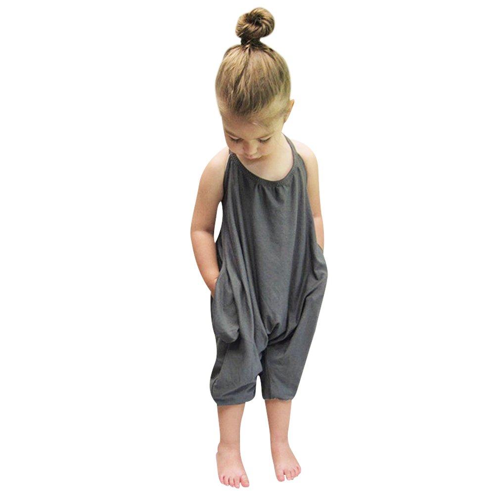 Chinatera Little Girls Kids Halter Romper Harem Pants One-Piece Jumpsuit Cotton (6-12 M, Grey)