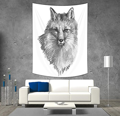 iPrint Polyester Tapestry Wall Hanging,Fox,Sketchy Fox Portrait Hunting Predator Vixen Vulpine Nature Inspired Hand Drawing Decorative,Grey Black White,Wall Decor for Bedroom Living Room (Grey Fox Hunting)