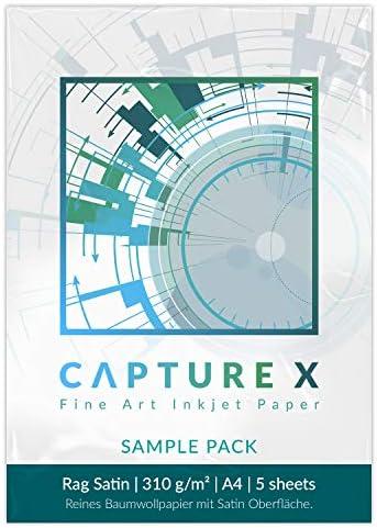 CAPTURE X Rag Satin, A4, 310g/m², Sample Pack, 5 Blatt - Seidenglanz - Lichtbeständigkeit - Fine Art Paper testen