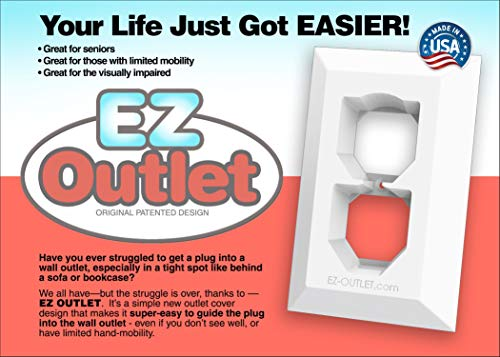 EZ Outlet Wall Plate Cover with Contoured Design to Guide Electric Plug- Great for Seniors or Visually Impaired- Made in the USA