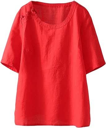 Mordenmiss Women's Cotton Linen Shirts Summer Short Sleeve Tunic Tops