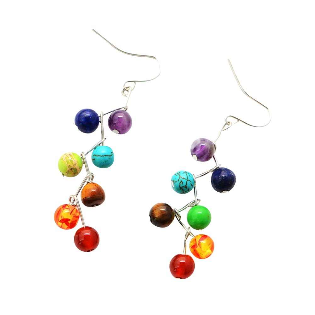 ink2055 Fashion Yoga 7 Chakra Stone Colorful Beads Drop Hook Earrings for Women Girl Jewelry Gift Multicolor