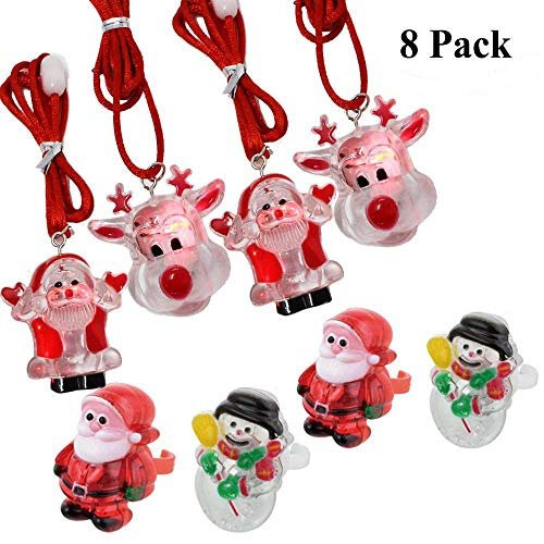 Joyin Toy LED Light Up Christmas Ring and Necklace Holiday Party Favors Xmas Stocking Stuffers (8 Pack)