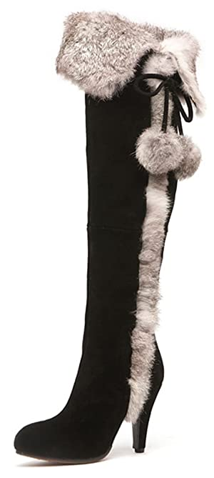 Aphnus Womens Boots Genuine Cow Leather Suede Rabbit Fur Over Knee Boots Black US8