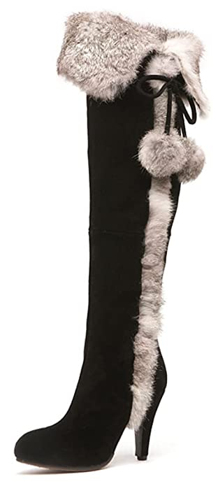 Amazon.com   Aphnus Womens Boots Genuine Cow Leather Suede Rabbit ...