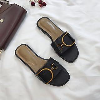 ITTXTTI Zapatos de Verano de Las Mujeres Chic Red Sandalias Rojas y Zapatillas de Verano de Las Mujeres Usan 2018 Salvaje Palabra Plana de Fondo Plano Exterior