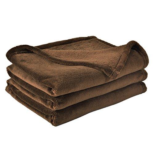 BEST DREAMCITY Brush Fabric Polar Fleece Blanket (Brown, 60