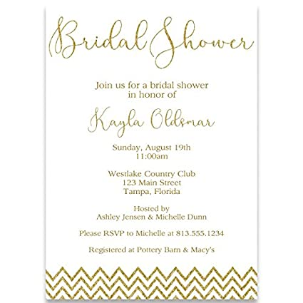 Amazon chevron glitter bridal shower invitations white gold chevron glitter bridal shower invitations white gold glitter wedding chevron filmwisefo