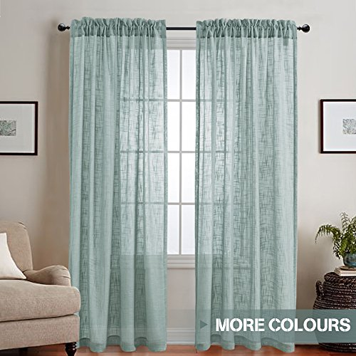 Linen Textured Sheer Curtains Rod Pocket Drapes for Bedroom / Living Room Window / Patio Door (Set of Two, 52 by 95 Inch Long, Blue Haze)
