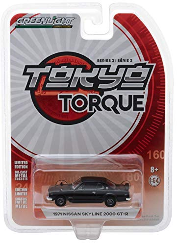 - 1971 Nissan Skyline 2000 GT-R Black Tokyo Torque Series 3 1/64 Diecast Model Car by Greenlight 47010 A
