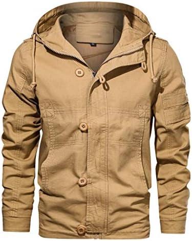 [해외]HDGTSA Men`s Jacket Outwear Pure Color Hoodie Breathable Cotton Blend Button Coat / HDGTSA Men`s Jacket Outwear Pure Color Hoodie Breathable Cotton Blend Button Coat(Khaki,3XL)
