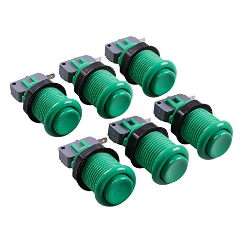 Reyann 6x Happ Style Standard Arcade Push Button for Mame Multicade / Jamma Multicade / Other Arcade Video Games - Green -With Microswitch